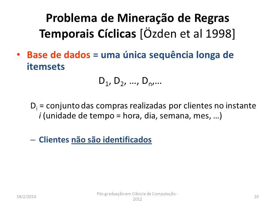 Problema de Mineração de Regras Temporais Cíclicas [Özden et al 1998]